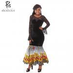 China Summer Lace Batik Cloth Stitching Long Sleeves Modern African Dresses Novelty wholesale