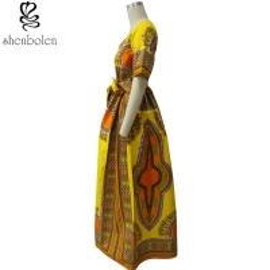 Quality Modern African Print Dresses Dashiki For Elegant V - Neck Classical Print Sleeveless for sale