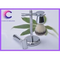 Set - Safety Shaving Brush Set Stand & Synthetic Brush Included Deluxe Chrome Color