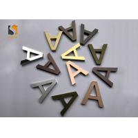 China Small 3D Shop Sign / Decorative Metal Letters With Finishing Gold , Bronze , Silvery wholesale