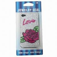 China Crystal case for iPhone, romantic rose design, available with plastic case, safe and non-toxic wholesale
