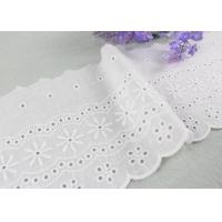 China Embroidered Flower Eyelet Cotton Lace Trim With Azo Free Organic Cotton Yarn Made wholesale