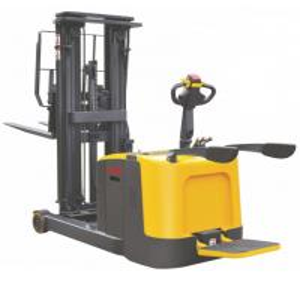 China Load Capacity 1.2 Ton Narrow Aisle Lift Trucks , Forwarding Mast Stand Up Reach Forklift wholesale