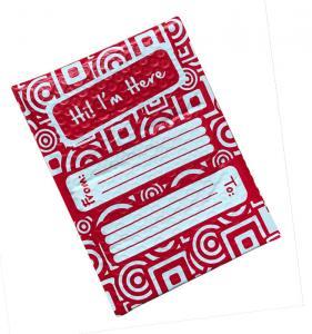 China Full Printing Red Poly Bubble Envelope Mailer 6x10 Hot Melt Adhesive Glue wholesale