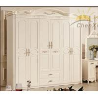 China White Solid Oak Wood Wardrobe Princess Style , 6 Door Wardrobe Bedroom Furniture wholesale