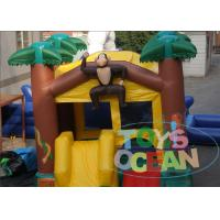 China 0.55mm PVC Monkey Inflatable Bouncer House Jumping Castle With Mini Slide wholesale