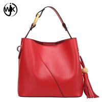Buy cheap plain leather tote bag with tassel cow leather bag women Multi-function top from wholesalers