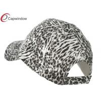 Quality White Animal Print Sequin Fitted Baseball Hats with Polyester Velcro Closure for sale