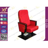 China Wooden Armrest Box Structure Conference Hall Chairs With Book Net And Cup Holder wholesale