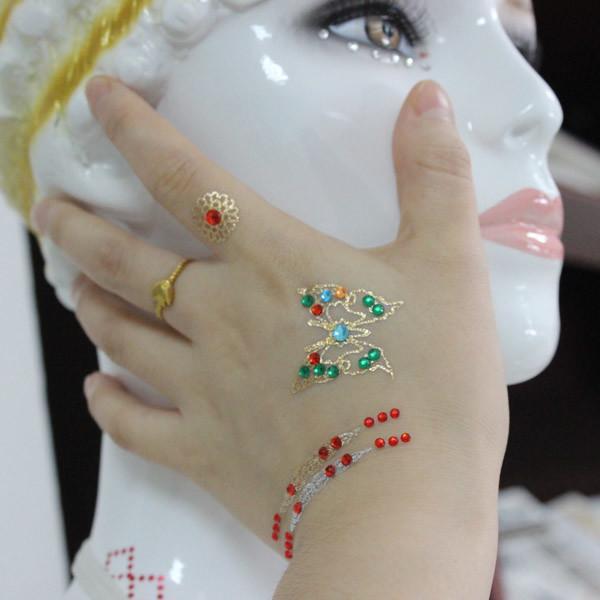 Quality Metallic Jewelry Rhinestone Face Tattoo Stickers Eco Friendly Gorgeous for sale