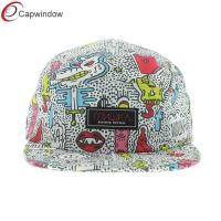 China Youth Hella Stuff 5 Panel Camper Cap , Pure Polyester Strapback Hat wholesale