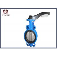 China Rubber Seated Wafer Butterfly Valve Cast Iron DN50 With Handle Operation wholesale