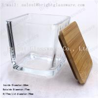 China Square wooden lid of glass container wholesale