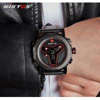 Quality RISTOS Creative Men Dual Time Genuine Leather Band Waterproof 30m Racing Sport for sale