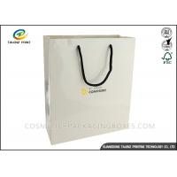 China White Card Retail Shopping Bags Hot Stamping Surface Finishing ISO14001 wholesale