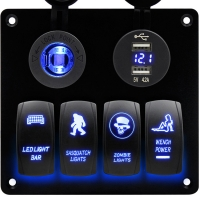 Buy cheap Waterproof Auto car RV Marine boat Rocker Switch Panel with Digital Voltmeter from wholesalers