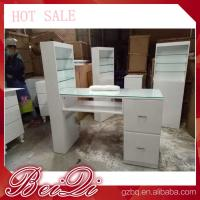 China Modern manicure table vacuum and nail salon furniture cheap nail table white color wholesale