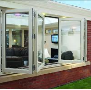China Double panel folding glass windows prefabricated windows and doors wholesale