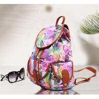 China Teenager Girls Canvas Fashion Ladies Backpack Floral Design For Short Trips wholesale