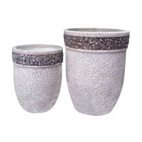 China Contemporary Round Cement Garden Planters Cement Flower Pots For Courtyard / House wholesale