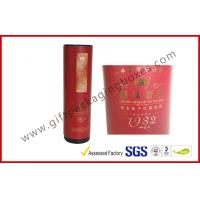 China Embossed / Hot-Stamping Cylindrical Wine Packaging Boxes , Custom Printed Wine Boxes with Matel Cap wholesale