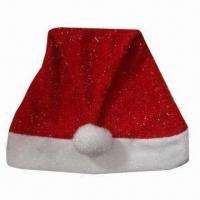 China Santa Hat, Made of 100% Polyester, Suitable for Christmas Decorations Purposes wholesale