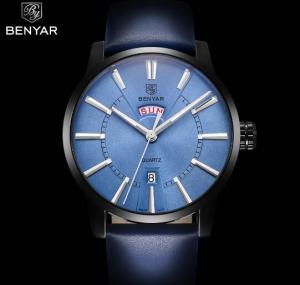 Quality BENYAR Men Genuine Leather Strap Simple Quartz Wrist Watches Casual 3 ATM for sale