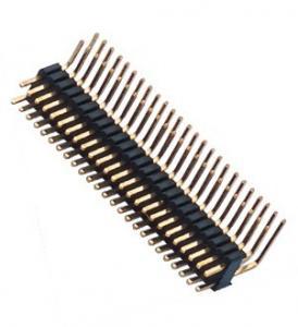 China Dual Row Pin Header 1.27*2.54 Right Angle Dual Row 90° DIP 50 Pin Header PA9T black ROHS wholesale