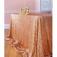 "China Reception Fabric Table Cover 50"" X 80"" , Rose Gold Sequin Fabric Tablecloth wholesale"