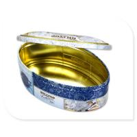 Oval Tea Tin Canister With Inner Golden Color Metal Box Custom Print Accepted