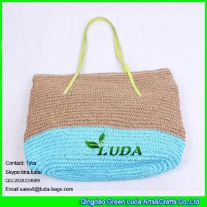 China LUDA new fashion paper straw handbag two tone block crochet paper straw bag on sale