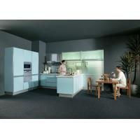 China UV Light Blue Kitchen Cabinets With Stove And Oven For Home / Hotel / Apartment on sale