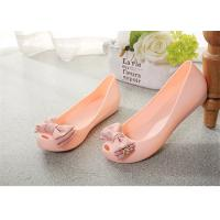 China Plastic Resin  Summer Fashion Sandals Womens Peep Toe Flat Shoes With Bowknot wholesale