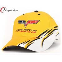 China 3D Embroidered Racing Baseball Caps With White Sandwich Peak , Adjusteble Velcro Closure wholesale