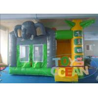 China Green PVC Inflatable Bounce House Elephant Jumping Bouncy Castle For Fun wholesale