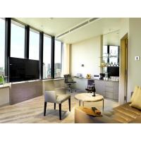 China Fashion Apartment Hotel Room Furniture Wooden Headboard with Storage Bed and Chest of Cabinets made by Oak laminated wholesale