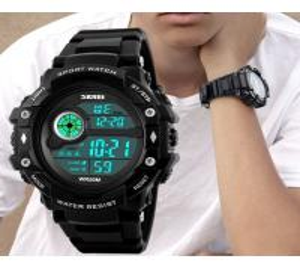 Quality Skmei Fashion Men Multifunction 50m Waterproof Chrono Alarm PU Strap Sport Watch for sale