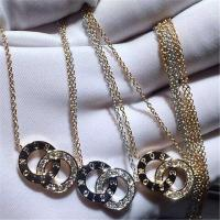 China Piaget diamonds of double ring necklace 18kt  gold  with white gold or yellow gold or pink gold wholesale