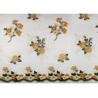 Buy cheap Multi Colored Floral Scallops Lace Fabric For Evening Dresses / Embroidered from wholesalers