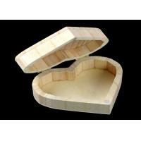 China Cover Top Heart Shaped Wooden Box , Wooden Crate Gift Box For Rings Wedding Gift wholesale