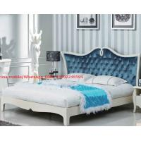 China Neoclassical design Luxury Furniture Fabric Upholstery headboard King Bed with Crystal Pull buckle Decoration wholesale