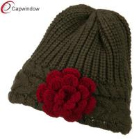 China Flower Short Acrylic ski Winter Hats Soft Hand Wash for Women wholesale