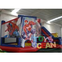 China Kids Spiderman 0.55mm PVC Tarpaulin Inflatable Bounce House Castles With Slide wholesale