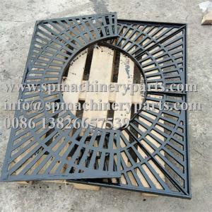 China Custom Creative Design Bitumastic Paint Finish 1304.8mm x 1130mm Cast Iron Tree Grate  In Two Halves wholesale