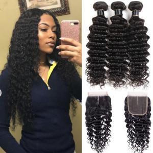 China Black Color 100% Brazilian Virgin Hair Deep Wave Bundles With Lace Closure on sale