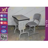 China Pre - Assembled Metal Kids School Desk And Chair Set With Electrostatic Powder Coating wholesale