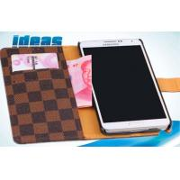 China Brown iPhone Leather Cases with Plaid PU , iPhone6 Flip Leather Case wholesale