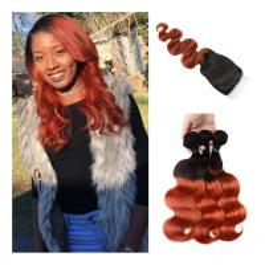 Ombre Hair Bundles Lace Closure Professional 1B/350 Two Tone Golden Blonde Brazilian Body Wave Human Hair