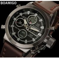 China Boamigo Men Dual Time Display Leather Band Creative Crown Scratch Proof Minerel Glass Chronograph Sport Watch F903 wholesale