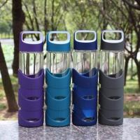 China Borosilicate 550ml Modern Reusable Glass Water Bottles With Rubber Cover wholesale